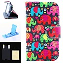 Lridescent Elephants Pattern PU Leather Full Body Case and High Transparency Screen Protetor for Samsung S3 Mini I8190