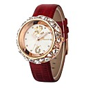Womens Jewel Round Dial Leather Band Quartz Analog Wrist Watch(Assorted Color)