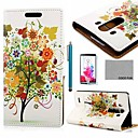 COCO FUN Green Colorful Lucky Tree Pattern PU Leather Case with Screen Protector, Stylus and Stand for LG G3 D850