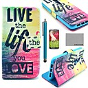 COCO FUN Love Life Pattern PU Leather Full Body Case with Screen Protector, Stylus and Stand for LG G2