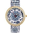 Womens  Fashion Personality Simple  Blue and White Porcelain  Style Metal Wrist Watch