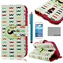 COCO FUN Black Moustache Pattern PU Leather Case with Screen Protector and Stylus for Samsung Galaxy S4 Mini i9190