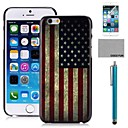 COCO FUN American Flag Pattern PC Hard Back Case Cover with Screen Protecter, Stand and Stylus for iPhone 6 6G 5.5