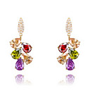 Roxi Gift Classic Genuine Austrian Crystals Fashion Colorful Zircon Leaves Drop Earrings (1 Pair)