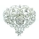 5.4cm Bridal Wedding Heart Flower Brooch Broach Pin with Alloy and Clear Rhinestone