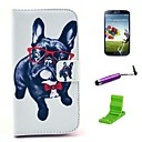 Glasses Dog  Pattern PU Leather Case with Screen Protector and Stylus for Samsung Galaxy S4 I9500