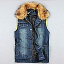 Mens Fur Collar Casual Slim Thicken Denim Vest(More Colors)