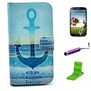 Anchored You Forever Pattern PU Leather Case with Screen Protector and Stylus for Samsung Galaxy S4 I9500