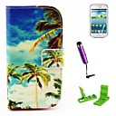 Coconut Tree Pattern PU Leather Case with Screen Protector and Stylus for Samsung Galaxy Trend Duos S7562