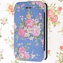 Beautiful Flowers Pattern PU Leather Full Body Case with Stand and Card Slot for iPhone 4/4S