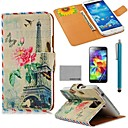 COCO FUN Plane Effiel Tower Pattern PU Leather Case with Screen Protector, Stylus and Stand for Samsung Galaxy S5 I9600