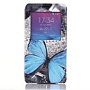Blue Butterfly Pattern PU Leather Cover with View Window for Samsung Galaxy Note 4