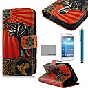 COCO FUN Flower Elephant Pattern PU Leather Case with Screen Protector and Stylus for Samsung Galaxy S4 Mini i9190