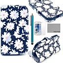 COCO FUN White Chrysanthemum Pattern PU Leather Case with Film and Stylus for Samsung Galaxy Trend Duos S7562