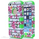 3 in 1 Hybrid  Rose Flower Pattern Hard Soft Silicone Back Case Cover Fit For iPhone 5C(Assorted colours)