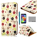 COCO FUN Flower White Pattern PU Leather Case with Screen Protector, Stylus and Stand for Samsung S5 Mini G800