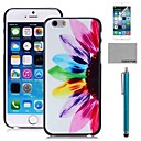 COCO FUN Half Flower Pattern PC Hard Back Case Cover with Screen Protecter, Stand and Stylus for iPhone 6 6G 5.5