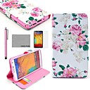 COCO FUN Rose Flower Pattern PU Leather Case with Screen Protector, Stylus and Stand for Samsung Galaxy Note 3