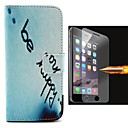 English Letters Pattern PU Leather Full Body Case with Explosion-Proof Glass Film for iPhone 6