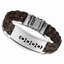 Loom 23cm Men Black Leather Stainless Steel Bracelet