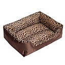 Fashion Leopard Square Warm Dogs Nest Teddys Bed for Dogs S 504012