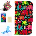 Elephants Pattern PU Leather Full Body Case and Stand and High Transparency Screen Protetor for Samsung S5 Mini