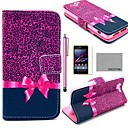 COCO FUN Purple Leopard Pattern PU Leather Case with Screen Protector and Stylus for Sony Xperia Z1 mini Compact D5503