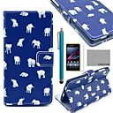 COCO FUN Blue Cute Elephant Pattern PU Leather Case with Screen Protector, Stylus and Stand for Sony Xperia Z1 L39H