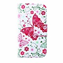 Flower and Butterflies Pattern PU Leather Full Body Case for iPhone 4/4S