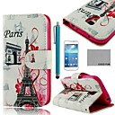 COCO FUN Effiel Tower Flower Pattern PU Leather Case with Screen Protector and Stylus for Samsung Galaxy S4 Mini i9190