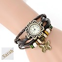 Personalized Gift  Women's Three-Layer Wrap PU Leather Bracelet Analog Engraved Watch  with Rhinestone