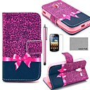 COCO FUN Purple Leopard Pattern PU Leather Case with Screen Protector, Stylus and Stand for Samsung Galaxy Ace 2 i8160