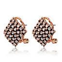 Roxi Fashion Square Honeycomb Shape Austrian Crystal Champagne Zircon Alloy Stud Earring(1 Pair)