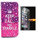 Keep Calm and Sparkle PU Leather Full Body Case with Explosion-Proof Glass Film for iPhone 6