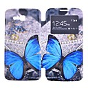 Blue Butterly Pattern Full Body Case with Window for Samsung Galaxy Grand 2 G7106