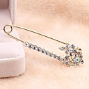 Korean Version Sweet Alloy Rhinestone Flowers Pin Brooch