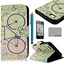 COCO FUN Bicycle PU Leather Full Body Case with Screen Protector, Stand and Stylus for iPhone 4/4S