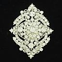 Cute Bridal Wedding Heart Flower Brooch Broach Pin with Clear Rhinestone for Party