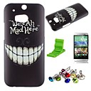 Cartoon Crazy Teeth Pattern PC Hard Case with Screen Protector,Dust Plug and Stand for HTC One M8