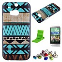 Blue Stripes Pattern PC Hard Case with Screen Protector,Dust Plug and Stand for HTC One M8