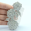 Clear Rhinestone Pretty Rose Flower Hair Comb Headband for Wedding Bridal Women Party Prom