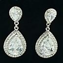 Graceful Drop Earring Dangle with Clear Rhinestone Zircon Bridal Wedding Prom Party Jewelry