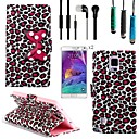 Leopard Bow Pattern PU Leather with Touch Pen,Protective Film 2 Pcs and Headset for Samsung Galaxy Note 4