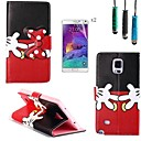 Red Gloves Bow Pattern PU Leather with Touch Pen and Protective Film 2 Pcs for Samsung Galaxy Note 4