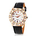 Womens Round Diamante Case PU Band Quartz Wrist Watch (Assorted Colors)
