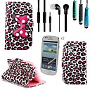 Leopard Bow Pattern PU Leather with Touch Pen,Protective Film 2 Pcs and Headset for Samsung Galaxy S3 MINI I8190N