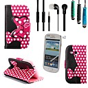 Rose Polka Dot Bow PU Leather with Touch Pen,Protective Film 2 Pcs and Headset for Samsung Galaxy Trend Duos S7562