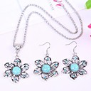 Silver Flower-Shaped Crystal Pendant Earrings Turquoise Suit