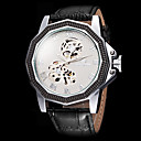 FORSINING Mens Dodecagon Case Cool Skeleton Black Leather Band Automatic Self Wind Wrist Watch