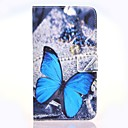 Blue Butterly Pattern PU Leather Case with Stand and Card Slot for Google Nexus 6